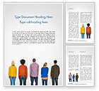 People: Rear View of Multi-Ethnic Group of People Word Template #15221