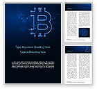 Technology, Science & Computers: Digital Bitcoin Sign Word Template #15300