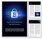 Technology, Science & Computers: Digital Bitcoin Symbol inside Secure Lock Word Template #15311