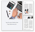 Financial/Accounting: Man Working with Laptop and Calculator Word Template #15330