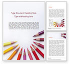 Art & Entertainment: Colored Pencils Arranged in Semicircle Word Template #15346