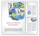 Careers/Industry: World with Famous Monuments in Hand Drawn Style Word Template #15354