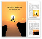 Business Concepts: Jump Over Cliff Word Template #15381