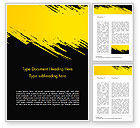 Abstract/Textures: Yellow Brushstroke on Black Background Word Template #15399