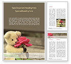 Holiday/Special Occasion: Teddy Bear with a Rose Word Template #15441