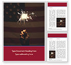 America: Sparkler and USA Flag Word Template #15449