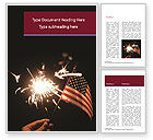 America: Hand with Sparkler and USA Flagpole Word Template #15453