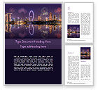 Construction: Singapore City Skyline at Night Word Template #15485
