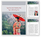 People: Asian Woman Wearing Traditional Japanese Kimono Word Template #15494