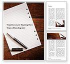 Business Concepts: Leeres notizblockblatt mit stift auf holztisch Word Vorlage #15531