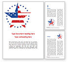 America: Star with USA Flag Word Template #15562