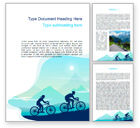 Sports: Mountain Travel on Bicycle Word Template #15582