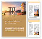 Flags/International: Morning View to Marina Bay Sands Word Template #15624