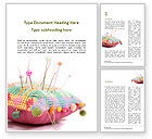 Art & Entertainment: Handmade Pin Cushion with Multicolored Sewing Pins Word Template #15692