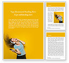 People: Happy Woman Listening Music in Headphones and Dancing Word Template #15713