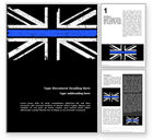 Military: Thin Blue Line British Flag Word Template #15740