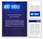 Education & Training: Work Harder Word Template #15746