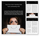 People: Stressed Woman Holding Sheet of Paper with Hand-Drawn Smile Word Template #15748