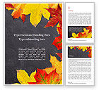 Education & Training: Yellow Maple Leafs on Blackboard Word Template #15754