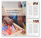 Education & Training: Toddlers are Playing with Full Box of Colored Chalk Word Template #15759