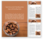 Food & Beverage: Top View of Glass Bowl Full of Almonds Word Template #15760