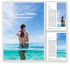 People: Naked Young Woman Enters the Ocean Word Template #15774
