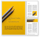 Business Concepts: 在黄色纸的两支灰色铅笔免费Word模板 #15814