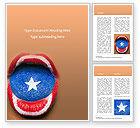 Holiday/Special Occasion: Plantilla de Word gratis - hermosos labios y lengua femeninos pintados al estilo del escudo del capitán américa #15827