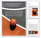 Sports: Top View of Streetball Court with Basketball Ball Word Template #15834