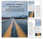 Cars/Transportation: Plantilla de Word gratis - baja vista del camino que conduce a las montañas #15839