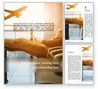 Cars/Transportation: Modèle Word gratuit de homme assis sur une chaise avec les pieds sur les bagages et regardant un avion #15848