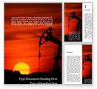 Utilities/Industrial: Templat Word Gratis Siluet Ladang Minyak Saat Matahari Terbenam #15849