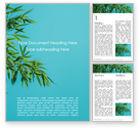 Nature & Environment: Modèle Word gratuit de feuilles de bambou sur fond bleu #15857