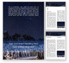 Nature & Environment: Night Sky Over a Snowy Forest Word Template #15860