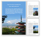 Nature & Environment: Plantilla de Word gratis - vista del monte fuji con pagoda chureito #15867