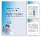 Construction: Plantilla de Word gratis - torre del faro blanco bajo cielo azul #15874