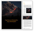 Nature & Environment: Volcano Eruption during Nighttime Word Template #15875