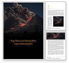 Nature & Environment: Plantilla de Word gratis - erupción del volcán durante la noche #15875