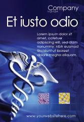 Medical: Modèle de Publicité de caducée en couleurs bleu profond #01881
