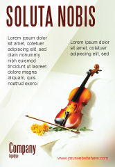 Art & Entertainment: Violin And Yellow Flowers Ad Template #02225