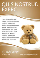 Holiday/Special Occasion: Teddy Bear On A White Background Ad Template #02999