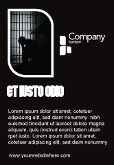 Legal: Prison Cell With Prisoner Ad Template #03377