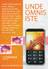 Telecommunication: Cellular Phone In Orange Colors Ad Template #04021