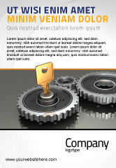Business Concepts: Key To Lock Mechanism Ad Template #04966