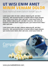 Medical: Bottle Of Tablets With Globe Ad Template #05180
