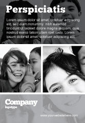 People: Kids In Black And White Colors Ad Template #05591