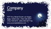 Holiday/Special Occasion: Santa's Sleigh On The Background Of The Moon Business Card Template #02850