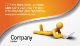 Education & Training: Orange Man With Laptop Business Card Template #03773