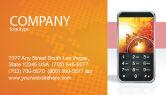 Telecommunication: 명함 템플릿 - 주황색의 휴대 전화 #04021