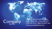 Global: Wide World Blue Map Business Card Template #04050